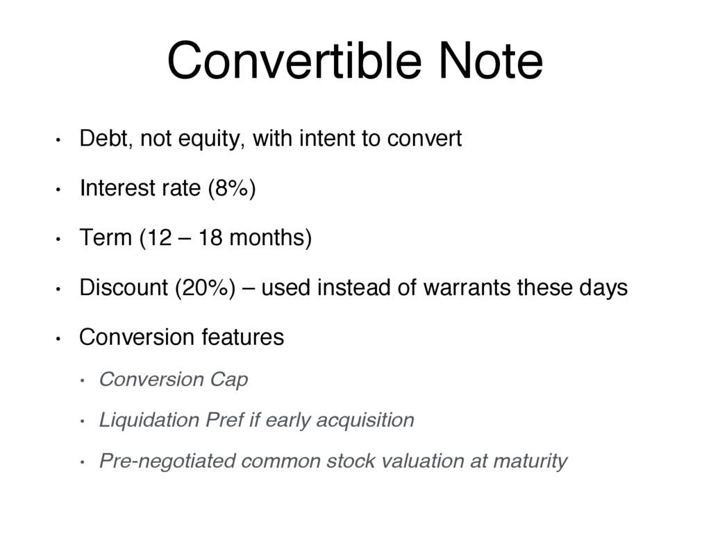 Convertible Note • Debt, not equity, with inten...
