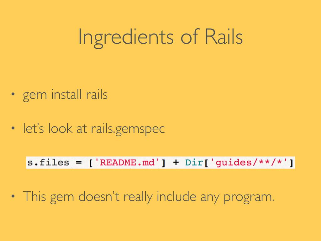 Ingredients of Rails • gem install rails  • l...