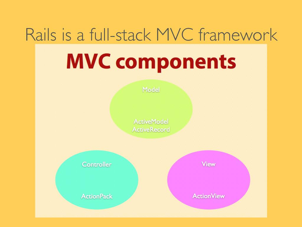 Rails is a full-stack MVC framework