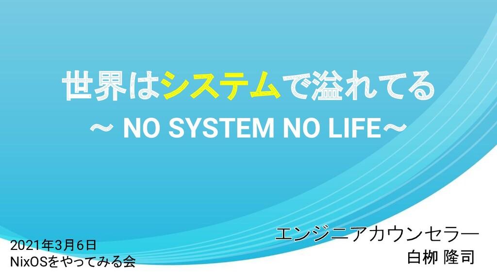 世界はシステムで溢れてる ~ NO SYSTEM NO LIFE~ 白栁 隆司 2021年3月...
