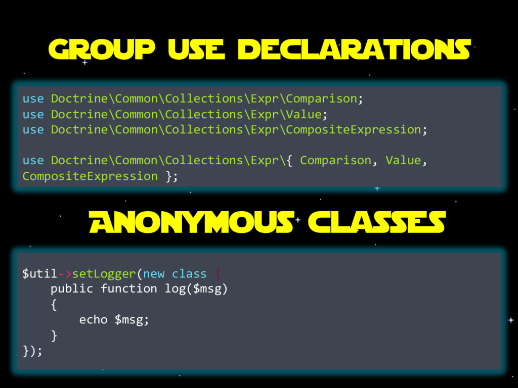 Group use declarations use Doctrine\Common\Coll...