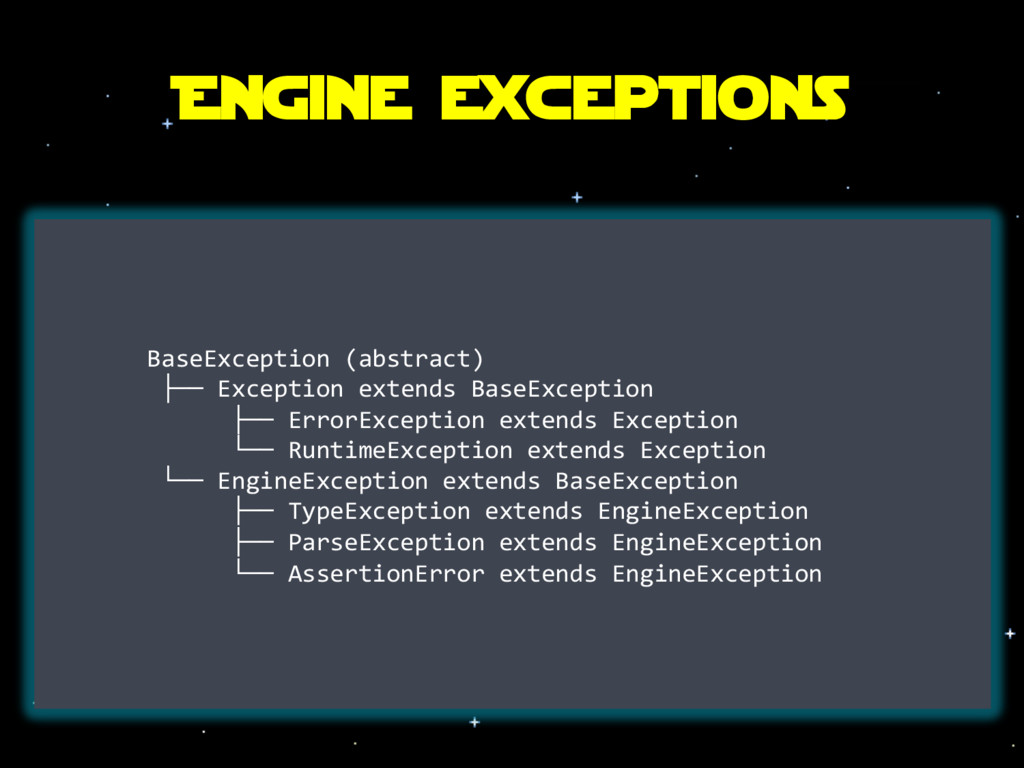 Engine exceptions BaseException (abstract) ├── ...