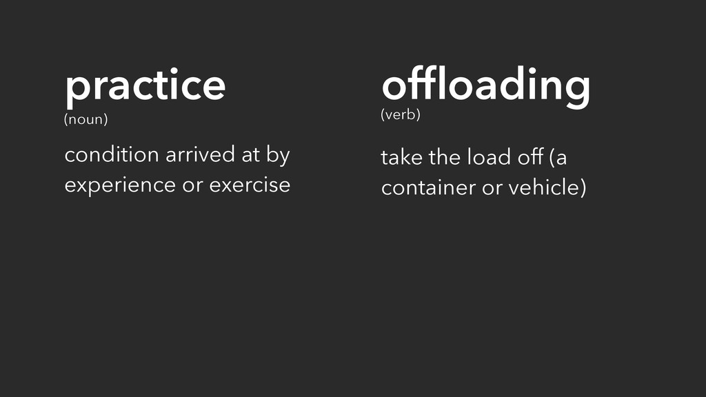 offloading (verb) take the load off (a container...