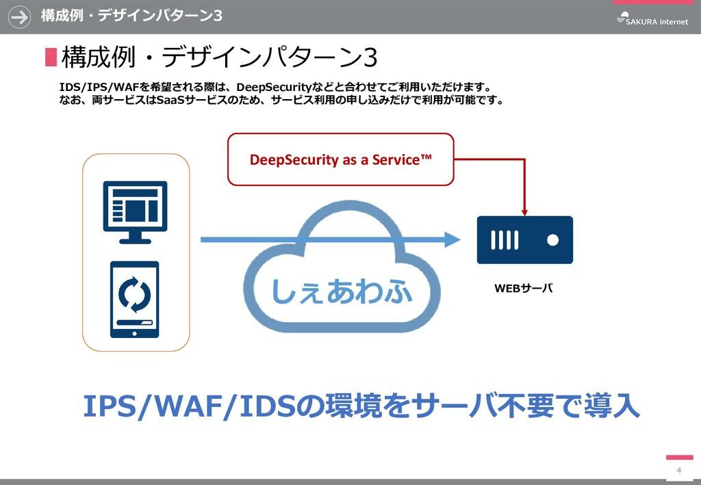 構成例・デザインパターン3 4 ∎構成例・デザインパターン3 IDS/IPS/WAFを希望され...