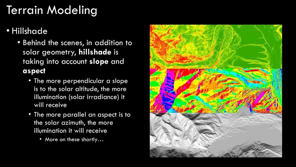 Terrain Modeling • Hillshade • Behind the scene...