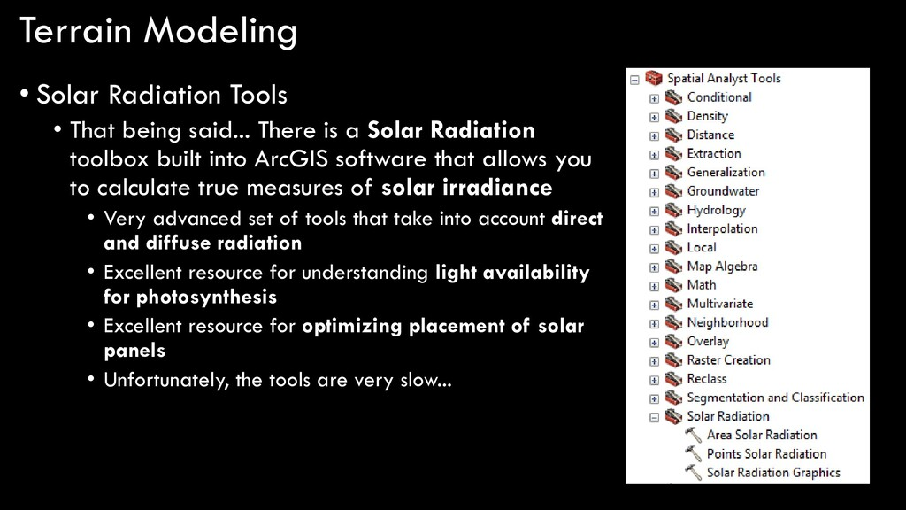 Terrain Modeling • Solar Radiation Tools • That...