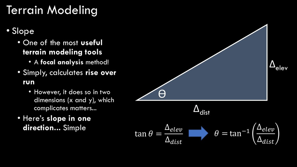Terrain Modeling • Slope • One of the most usef...