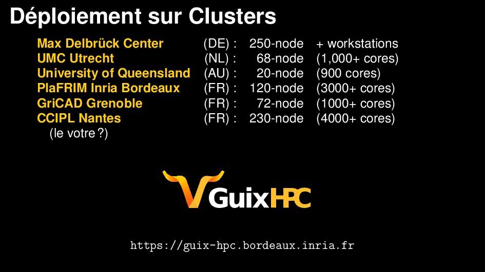 D´ eploiement sur Clusters Max Delbr¨ uck Cente...