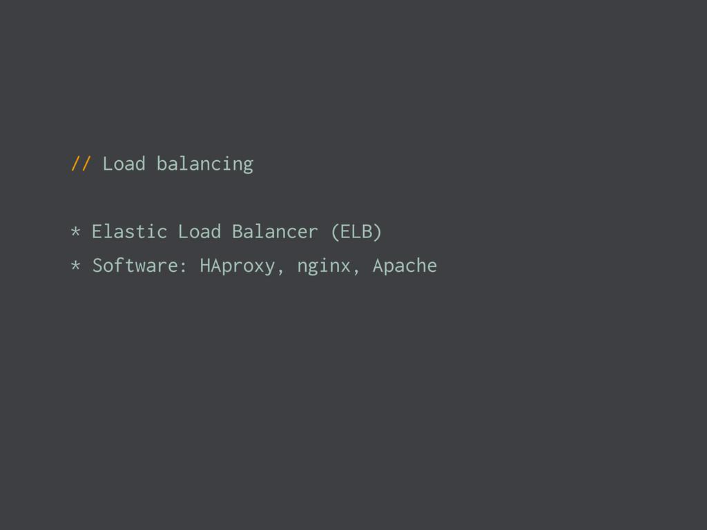 // Load balancing * Elastic Load Balancer (ELB)...