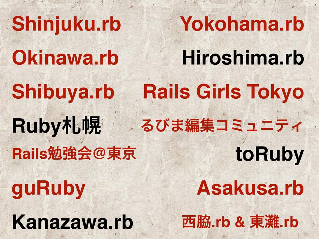 Shinjuku.rb Yokohama.rb Okinawa.rb Hiroshima.rb...