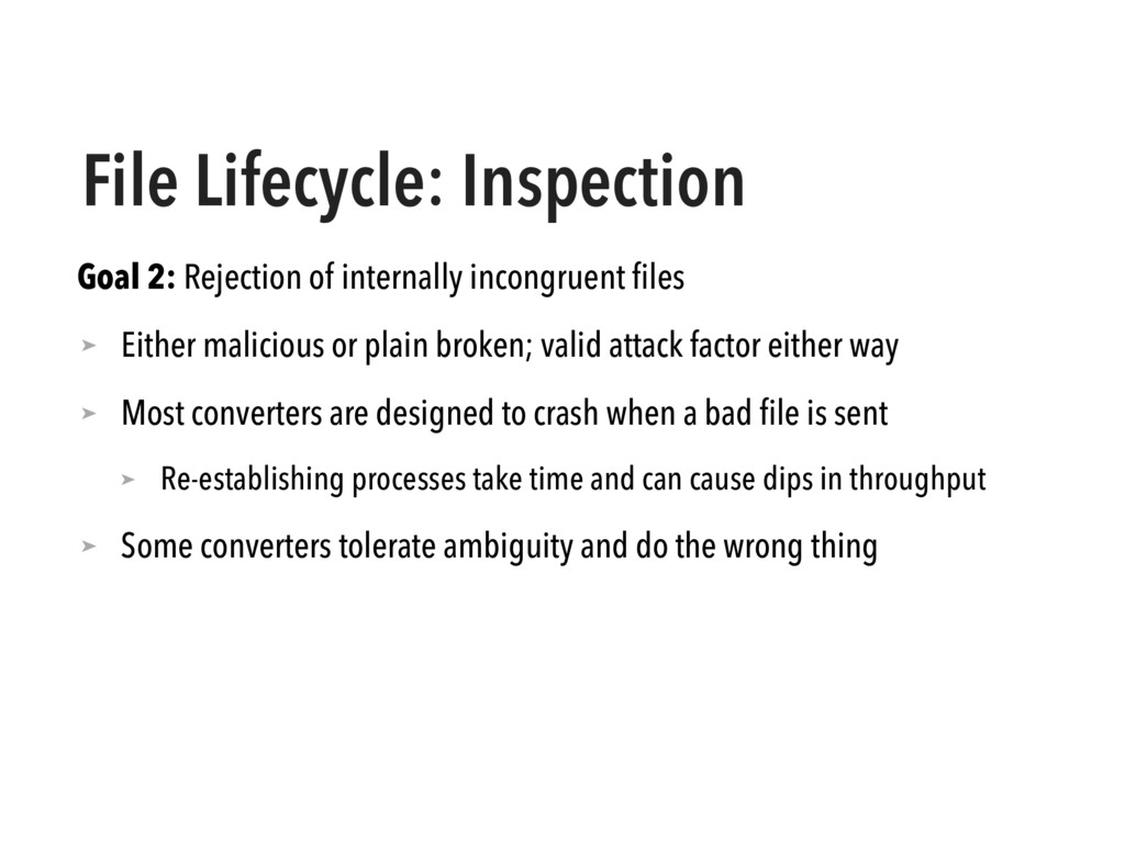 File Lifecycle: Inspection Goal 2: Rejection of...