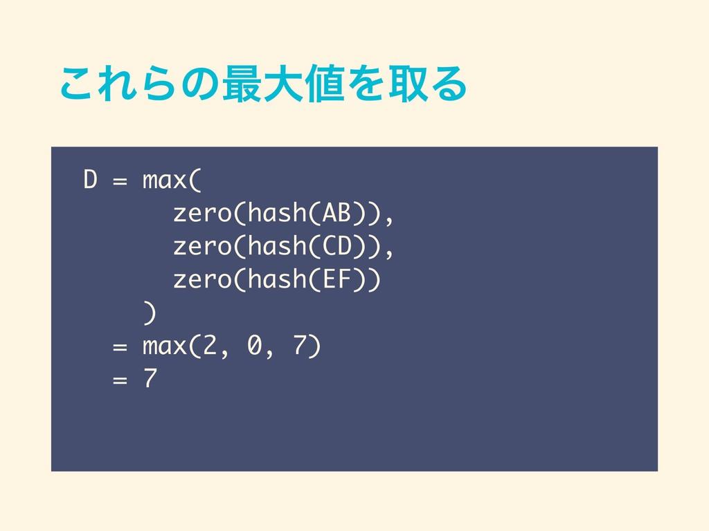 ͜ΕΒͷ࠷େΛऔΔ D = max( zero(hash(AB)), zero(hash(C...