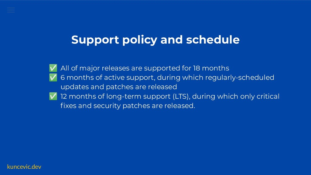 kuncevic.dev Support policy and schedule ✅ All ...