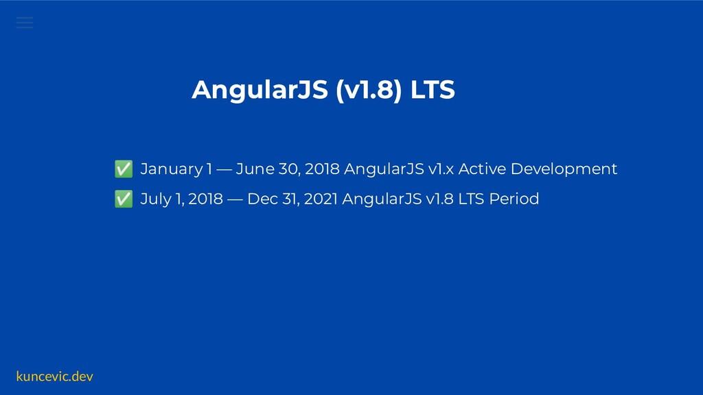 kuncevic.dev AngularJS (v1.8) LTS ✅ January 1 —...