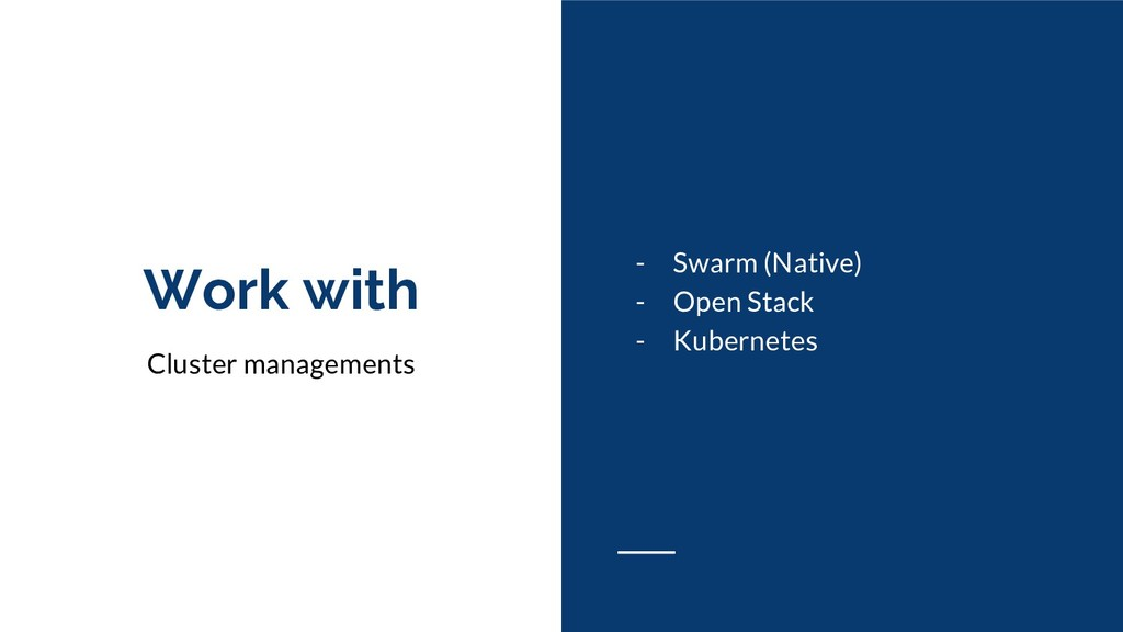 Work with Cluster managements - Swarm (Native) ...