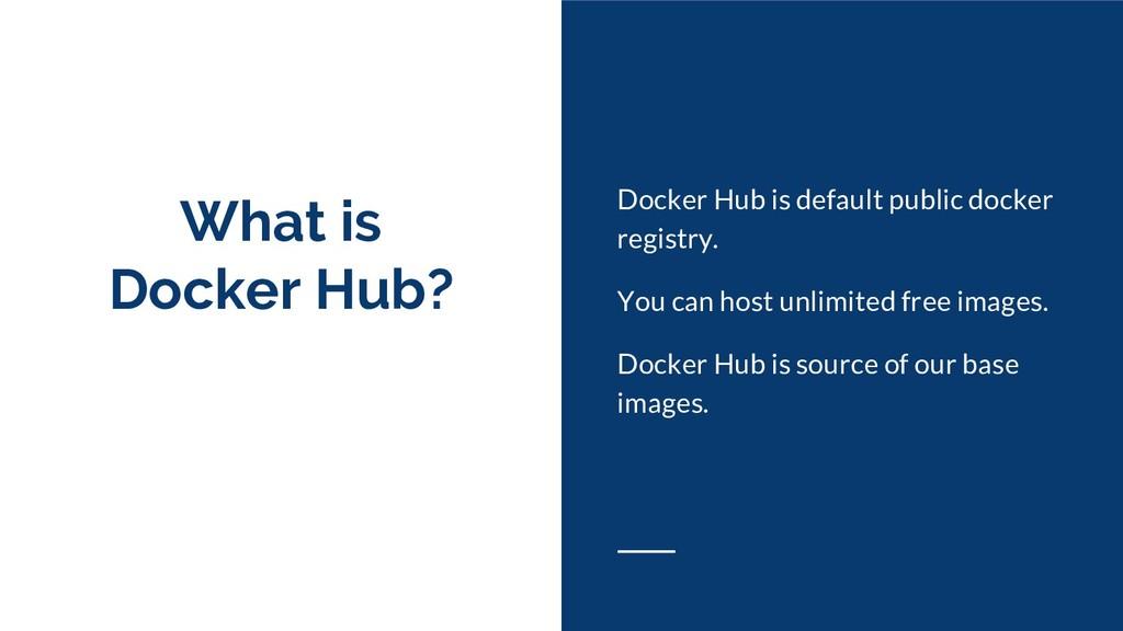 What is Docker Hub? Docker Hub is default publi...
