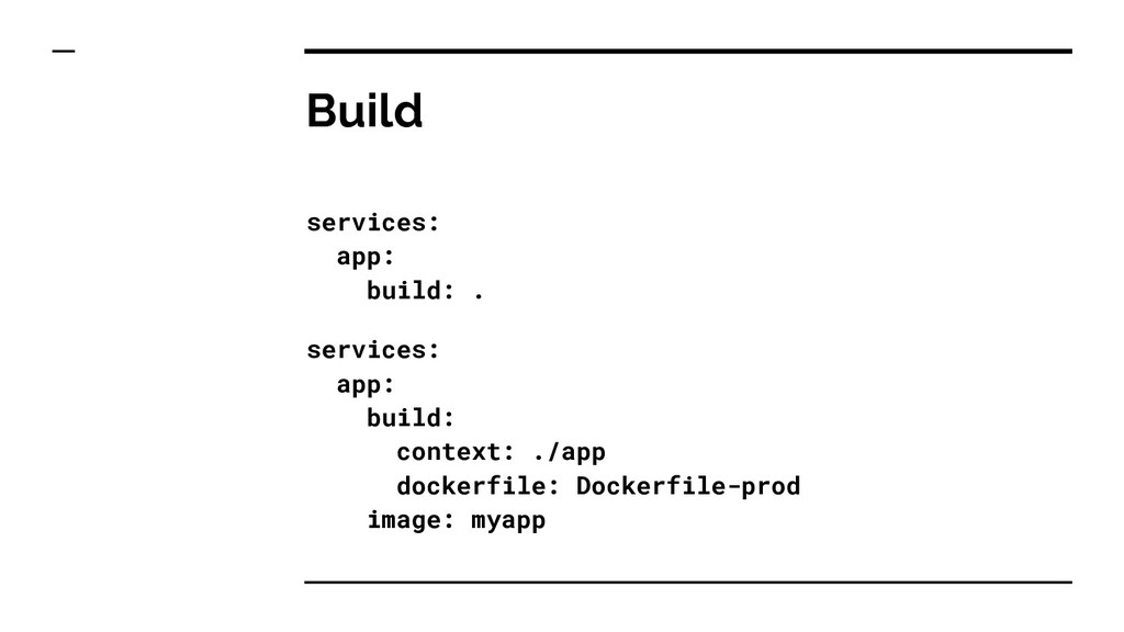 Build services: app: build: . services: app: bu...