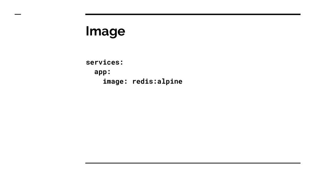 Image services: app: image: redis:alpine