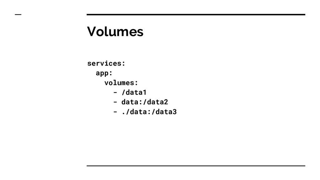 Volumes services: app: volumes: - /data1 - data...