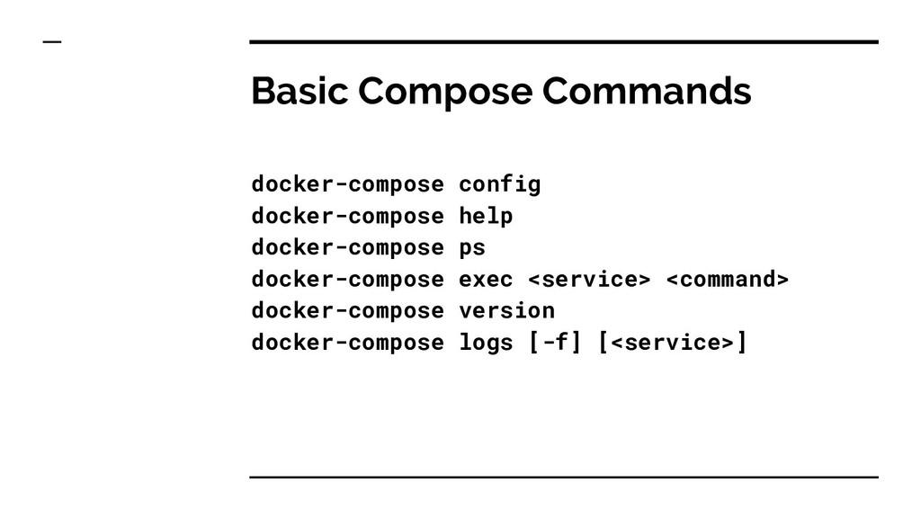 Basic Compose Commands docker-compose config do...