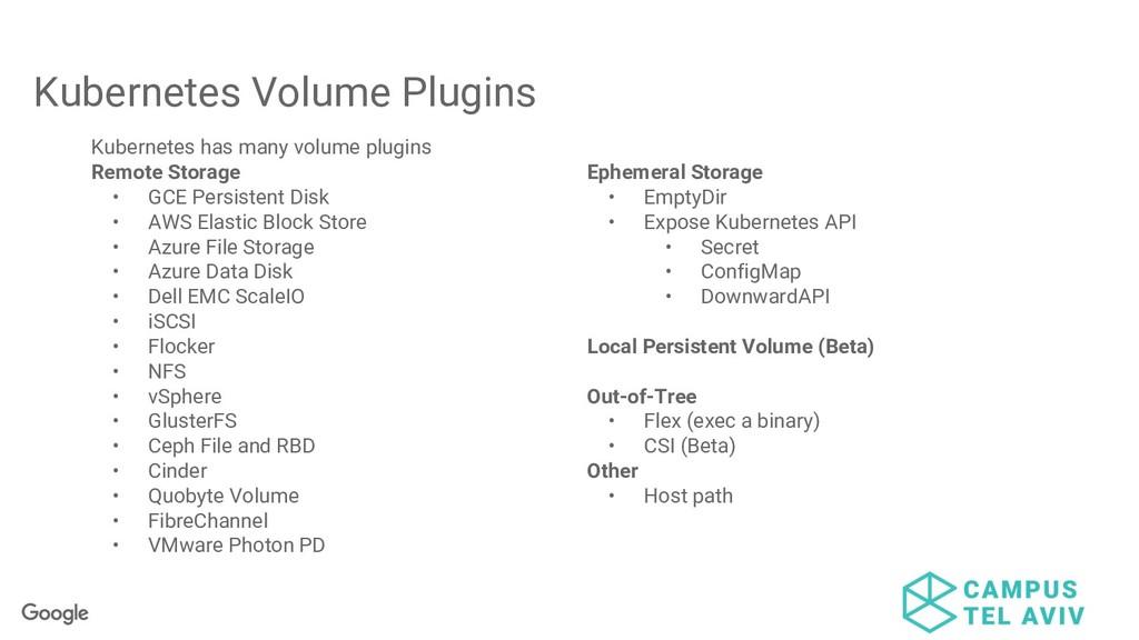 Kubernetes Volume Plugins Kubernetes has many v...