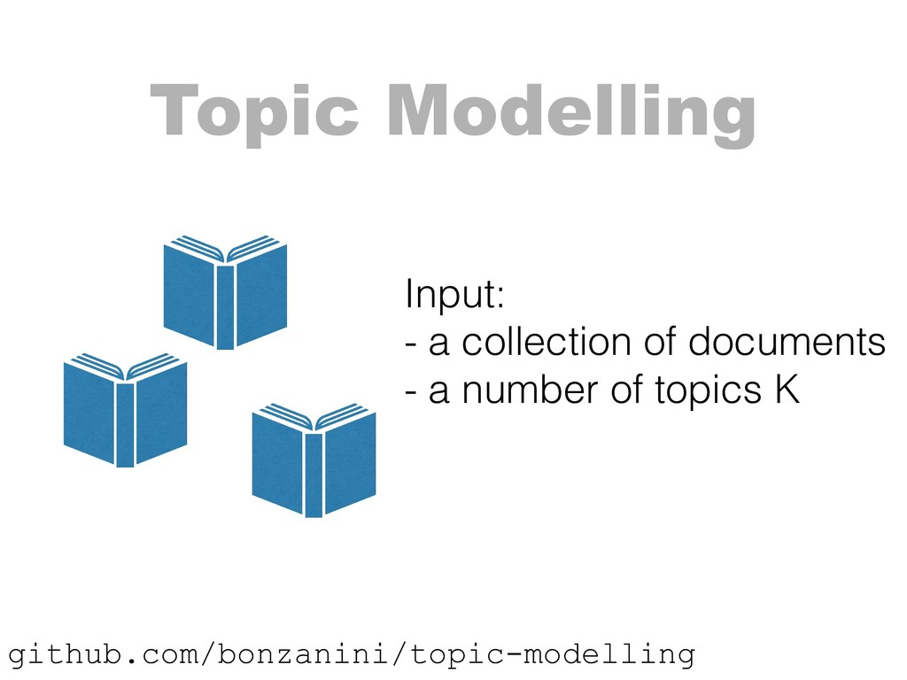 Topic Modelling Input: - a collection of docum...