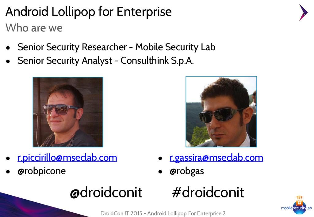 Android Lollipop for Enterprise ● Senior Securi...