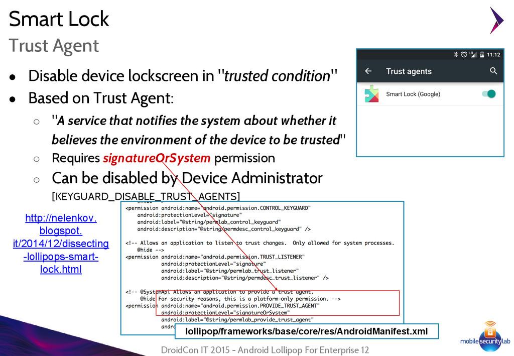 "Smart Lock ● Disable device lockscreen in ""trus..."