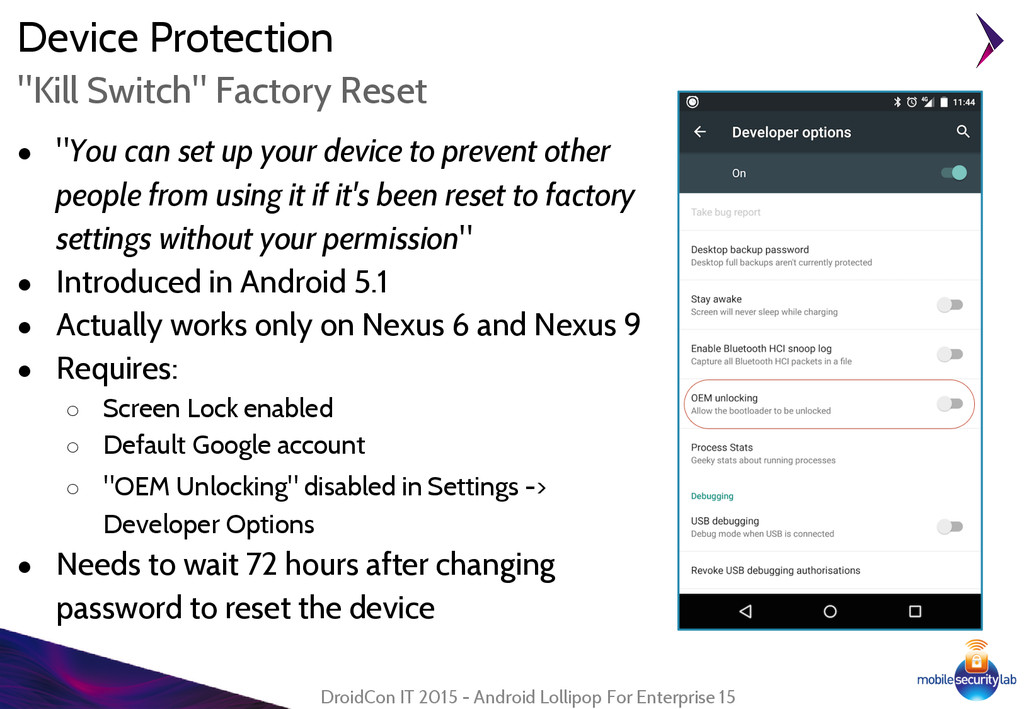 "Device Protection ● ""You can set up your device..."