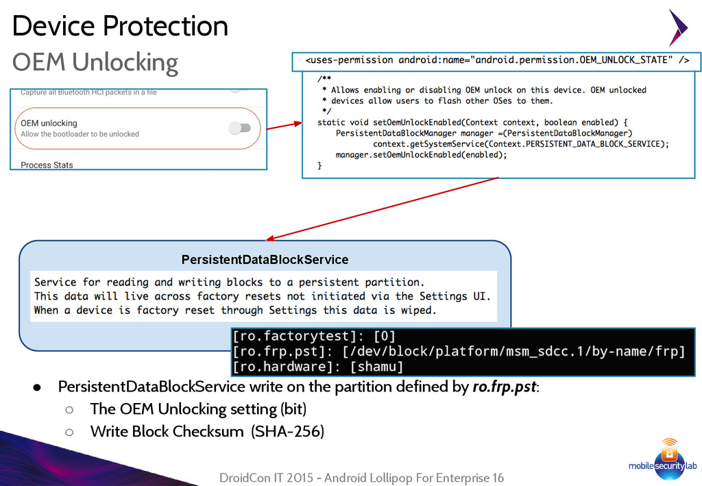 Device Protection ● PersistentDataBlockService ...