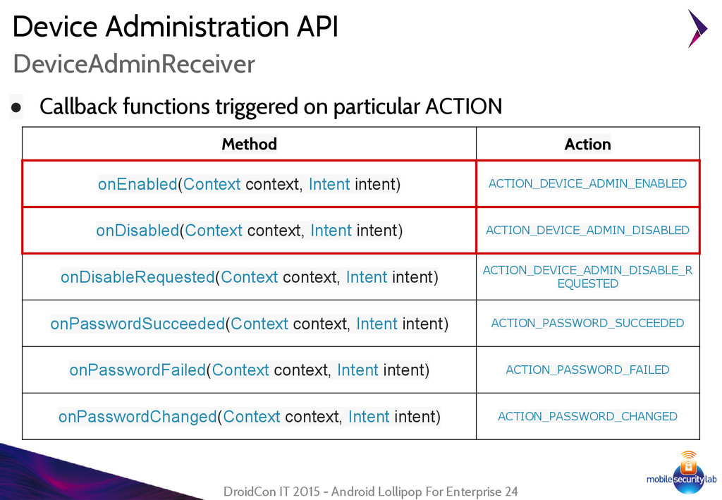 Device Administration API ● Callback functions ...