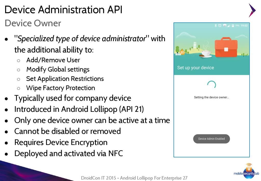 "Device Administration API ● ""Specialized type o..."