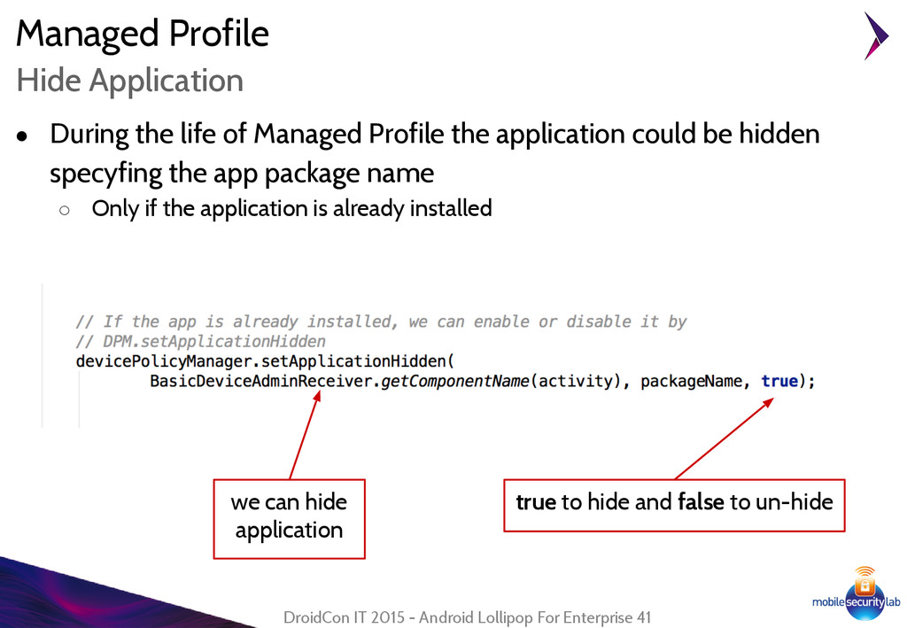 Managed Profile DroidCon IT 2015 - Android Loll...