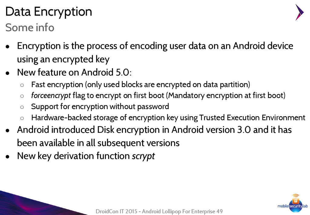 Data Encryption ● Encryption is the process of ...