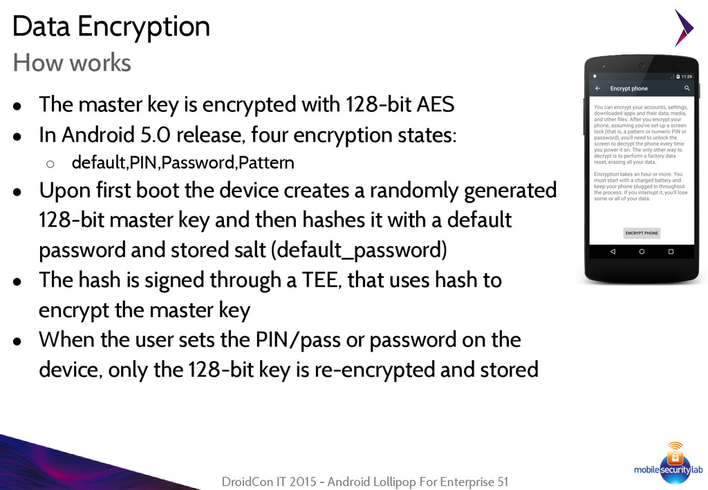 Data Encryption ● The master key is encrypted w...
