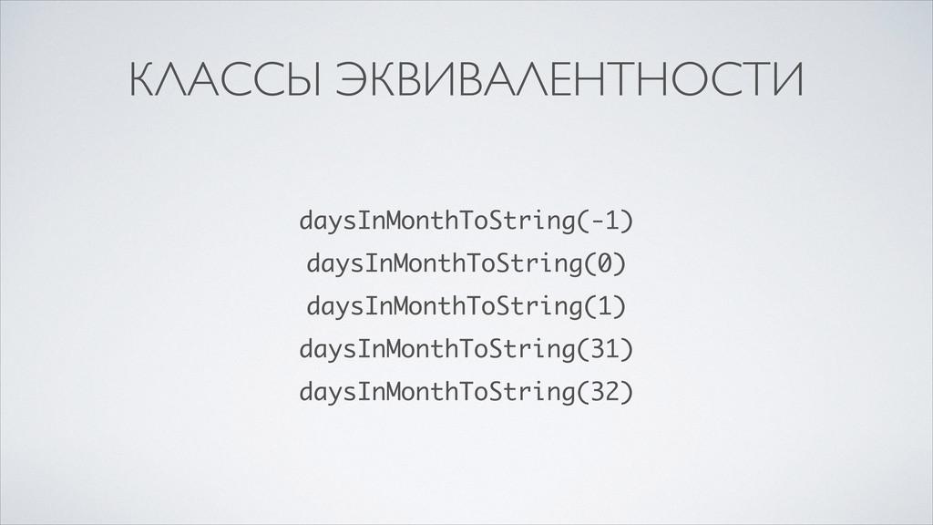 КЛАССЫ ЭКВИВАЛЕНТНОСТИ daysInMonthToString(-1) ...