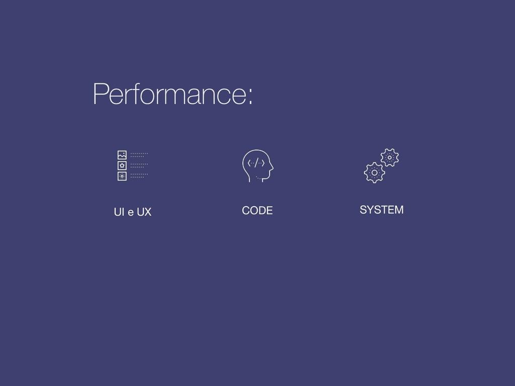 UI e UX CODE SYSTEM Performance: