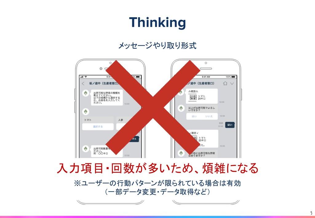 5 メッセージやり取り形式 入力項目・回数が多いため、煩雑になる ※ユーザーの行動パターンが限...