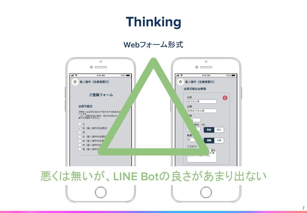 7 Webフォーム形式 悪くは無いが、LINE Botの良さがあまり出ない Thinking