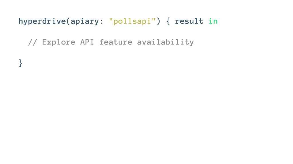 """hyperdrive(apiary: """"pollsapi"""") { result in // E..."""