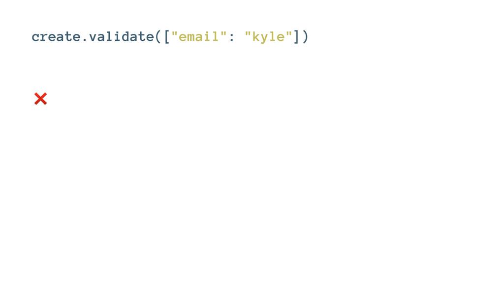 """create.validate([""""email"""": """"kyle""""]) ❌"""