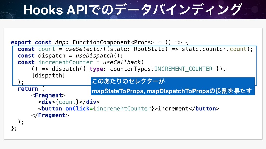 Hooks APIͰͷσʔλόΠϯσΟϯά export const App: Functio...