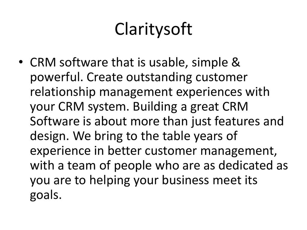 Claritysoft • CRM software that is usable, simp...