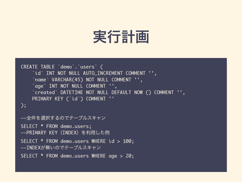 ࣮ߦܭը CREATE TABLE `demo`.`users` ( `id` INT NOT...
