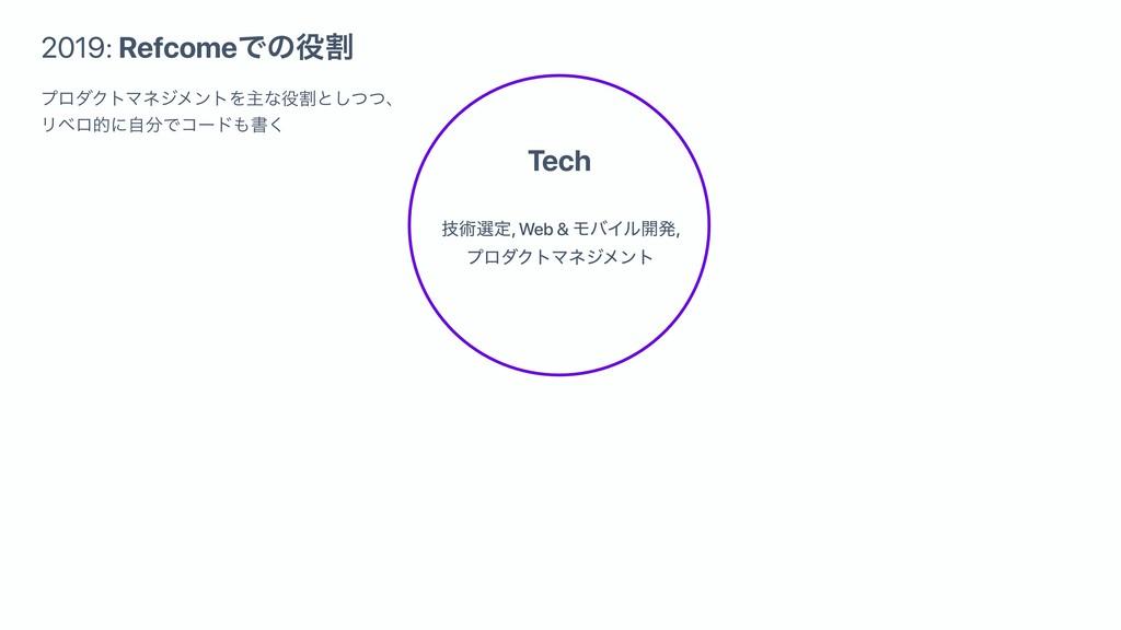 Tech 2019: RefcomeͰͷׂ ٕज़બఆ, Web & ϞόΠϧ։ൃ, ϓϩμΫ...