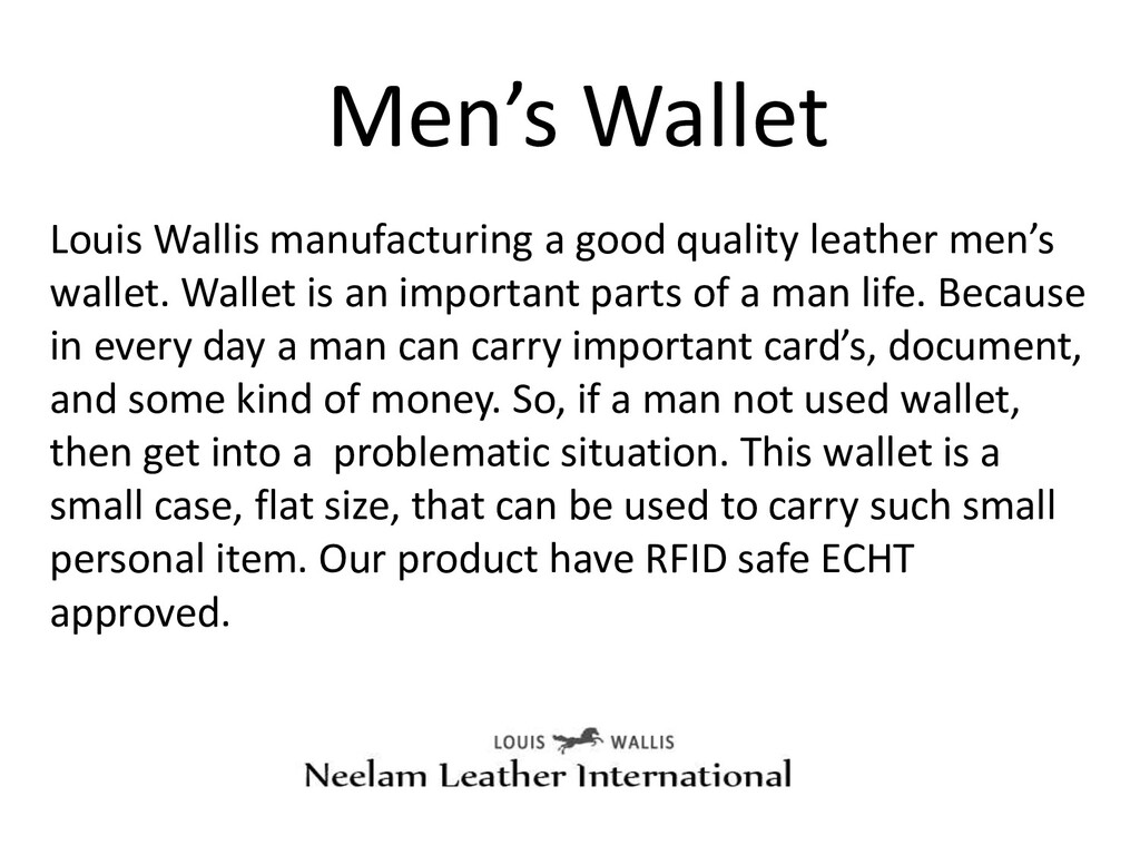 Men's Wallet Louis Wallis manufacturing a good ...