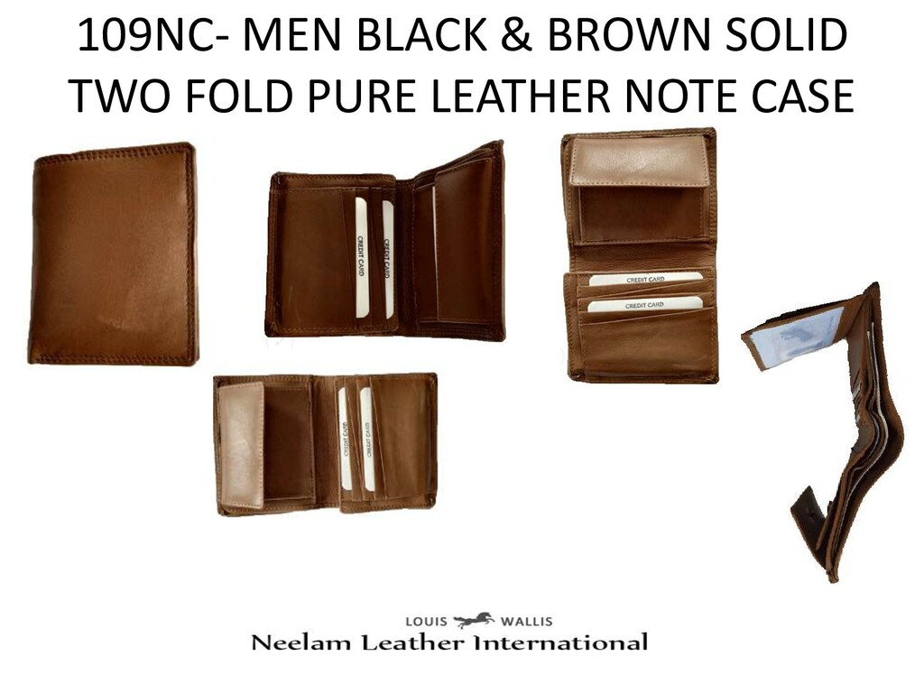 109NC- MEN BLACK & BROWN SOLID TWO FOLD PURE LE...