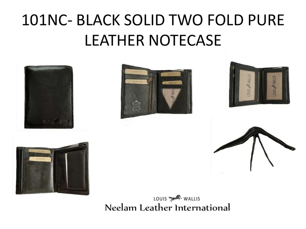 101NC- BLACK SOLID TWO FOLD PURE LEATHER NOTECA...