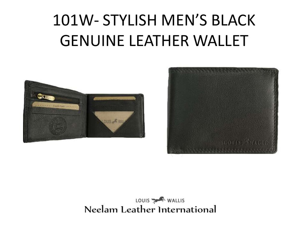 101W- STYLISH MEN'S BLACK GENUINE LEATHER WALLET