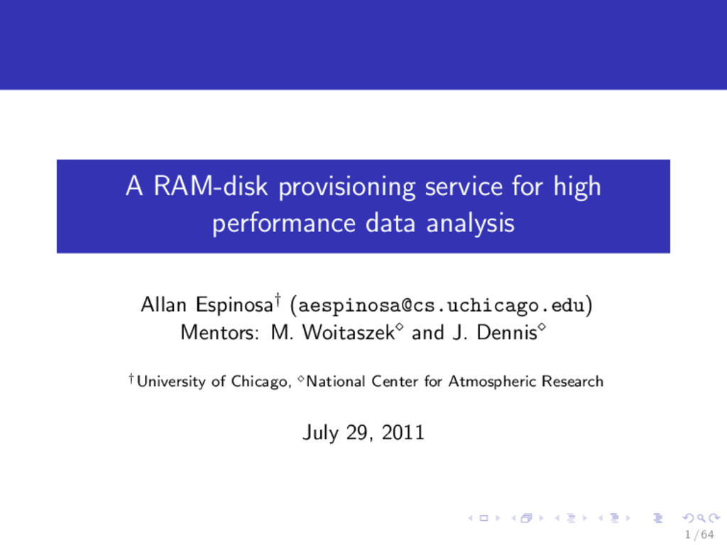 A RAM-disk provisioning service for high perfor...